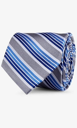 Express - Mixed Bright Stripe Narrow Silk Tie