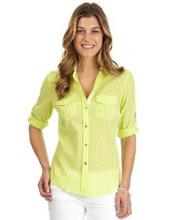 Nautica - Gingham Plaid Button-Front Blouse