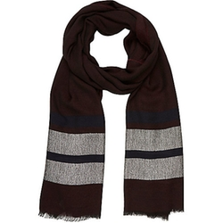 River Island - Dark red stripe lightweight scarf