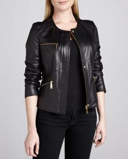 Elie Tahari  - Angelica Leather Front-Zip Jacket