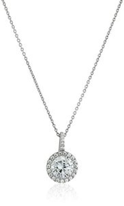 Crislu  - Sterling Platinum Cubic Zirconia Pendant Necklace