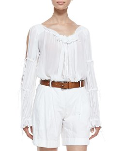 Michael Kors   - Ruffled Peasant Blouse