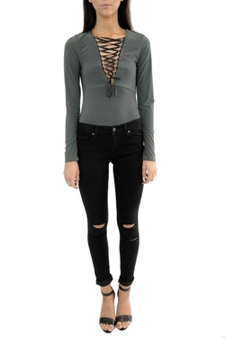 Frontrow - Slinky Lace-Up Bodysuit