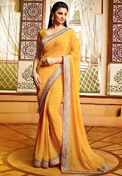 Utsav Fashion - Ochre Faux Chiffon Saree With Blouse
