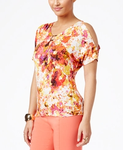 Thalia Sodi  - Printed Cold-Shoulder Top
