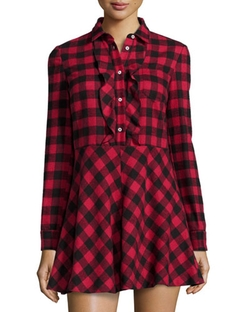 Red Valentino - Long-Sleeve Fit & Flare Plaid Shirtdress