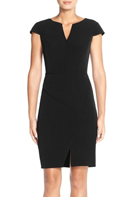 Adrianna Papell - Split Neck Crepe Sheath Dress