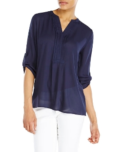 Violet & Claire - Sheer Split V-Neck Blouse