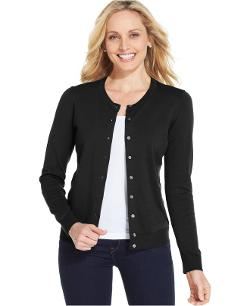 Karen Scott - Long-Sleeve Crew-Neck Cardigan
