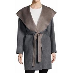 Fleurette - Double-Face Hooded Wool Wrap Coat