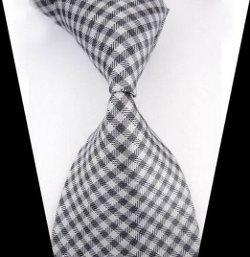 Vshop-2000  - Plaid Woven Jacquard Silk Suit Tie
