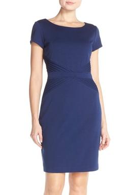 Ellen Tracy - Pleat Ponte Sheath Dress