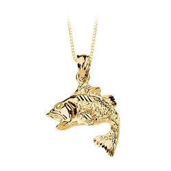 Katarina - 14K Yellow Gold Bass Fish Pendant with Chain