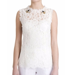 Dolce & Gabbana - Sleeveless Embroidered Lace Blouse