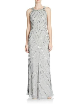 Adrianna Papell - Sequined Beaded Halter Gown