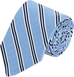 Barneys New York - Micro Check & Diagonal Stripe Necktie