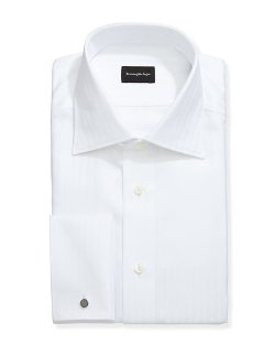 Ermenegildo Zegna  - Wide-Stripe French-Cuff Dress Shirt