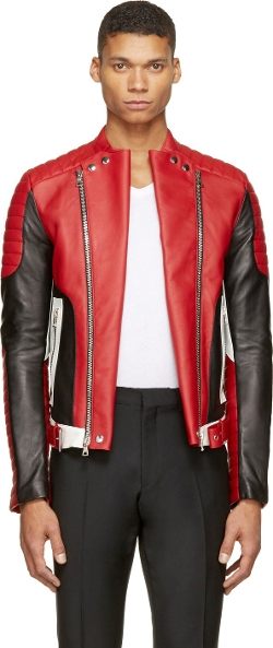 Balmain - Red Leather Biker Jacket