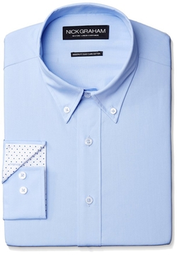 Nick Graham - Solid Cotton Poplin Dress Shirt