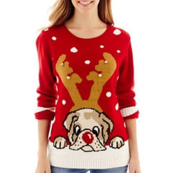By Design - Long-Sleeve Bulldog Christmas Sweater