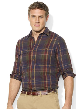 Polo Ralph Lauren Shirt - Long-Sleeve Plaid Brushed Twill Workshirt