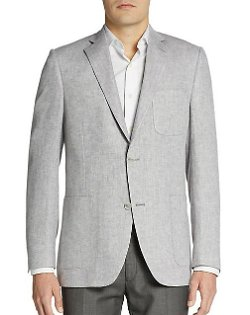 Saks Fifth Avenue Black - Herringbone Linen-Blend Sportcoat