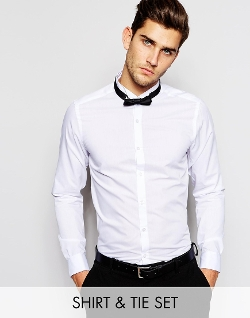 Asos - Textured Wing Collar  Smart Tux Shirt