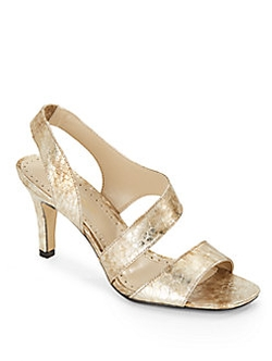 Adrienne Vittadini - Metallic Leather Sandals