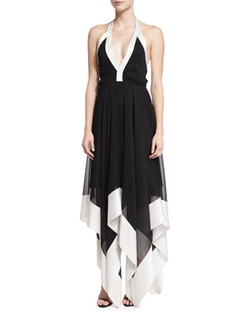 Alice + Olivia  - Ember Colorblock Chiffon Halter Dress