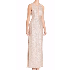 Aidan Mattox  - Sleeveless Sequin Illusion Gown