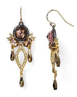 Alexis Bittar  - Rose Cut Pink Tourmaline & Pyrite Chandelier Earrings