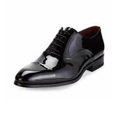 Neiman Marcus - Cap-Toe Patent Leather Oxford Shoe