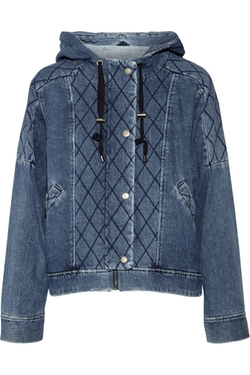 Sea - Quilted Denim Hooded Jacket