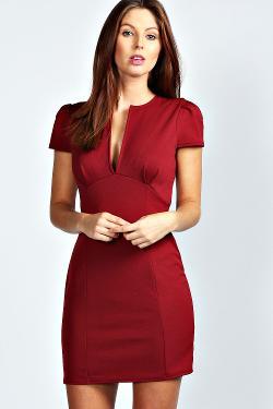 Billie  - V Neck Cap Sleeve Bodycon Dress