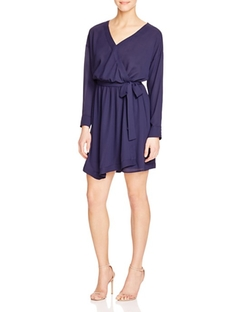Aqua  - Solid Faux Wrap Dress
