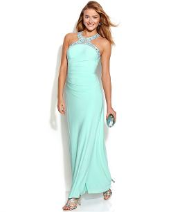 Xscape Jewel - Trim Ruched Halter Gown