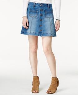 American Rag - Button-Front Light Wash Denim Skirt