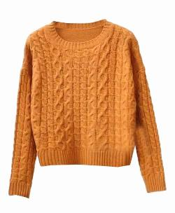 Chicnova - Round Neckline Twist Knit Pullover