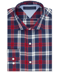 Tommy Hilfiger  - Slim-Fit Red and Blue Plaid Dress Shirt