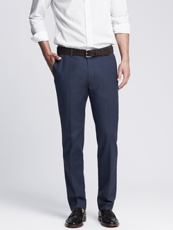 Banana Republic - Modern Slim Non-Iron Blue Cotton Dress Pant