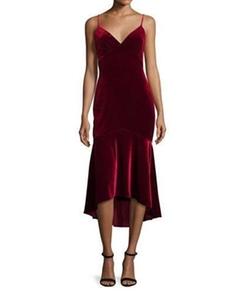 Theia - Sleeveless Velour Midi Dress