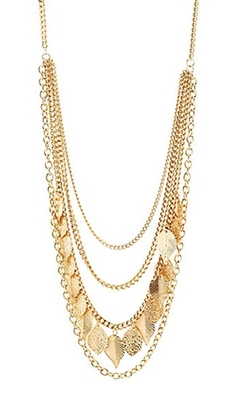 Charlotte Russe - Chain & Leaf Layered Necklace