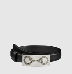 Gucci - Leather Belt With Crystal Horsebit Buckle