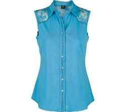 Ojai Clothing - Lace Yoke Button Down Top