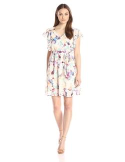 Sangria - V-Neck Floral Print Dress