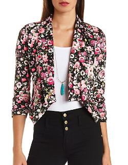 Charlotte Russe - Floral Print Open Front Asymmetrical Blazer