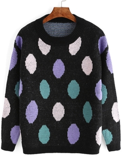 Romwe - Black Polka Dot Mohair Sweater