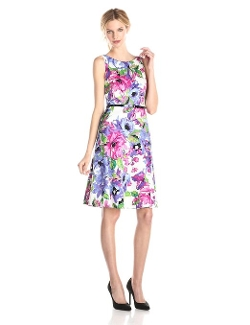Kasper - Belted Floral Printed Fit and Flare Dress