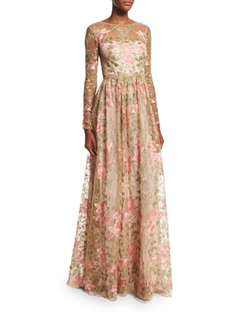 Marchesa Notte - Long-Sleeve Floral-Embroidered Gown