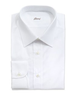 Brioni	 - Tonal Shadow-Striped Dress Shirt